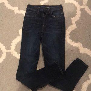 Express dark blue jeans super high rise